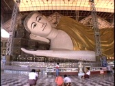 A giant Buddha relines in Burma, Myanmar. Stock Footage