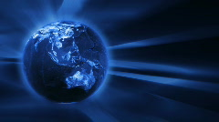 Blue FX Background with rotating Earth globe,seamless loop Stock Footage