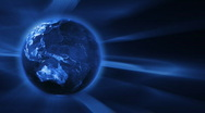 Stock Video Footage of Blue FX Background with rotating Earth globe,seamless loop