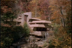 Water streams over the Frank Lloyd Wright Falling Water House in Pennsylvania. Stock Footage