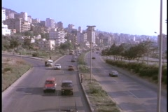 Traffic moves along a highway in East Beirut, Lebanon. Stock Footage