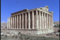 Pillars adorn an ancient Roman temple. Stock Footage