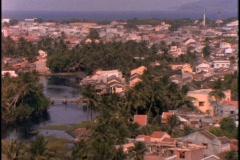 A fishing village lies near a river. Stock Footage