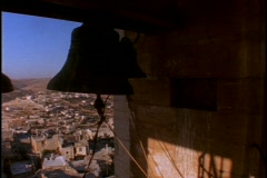 Large bells in a tower overlook the Holy land. Stock Footage