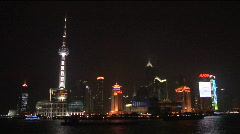 Shanghai skyline Pudong at night - stock footage