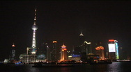 Stock Video Footage of Shanghai skyline Pudong at night