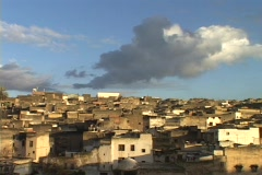 Ancient houses fill the Moroccan city of Fez. Stock Footage