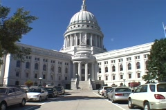 The Capitol building stands in a v-shape in Madison, Wisconsin. Stock Footage