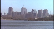 The Philadelphia skyline stands in the distance on a hazy day. Stock Footage