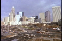 Skyscrapers fill Charlotte North Carolina's skyline. Stock Footage