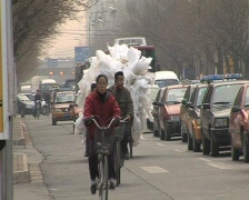 Bicycle overloaded in beijing, recycling Stock Footage