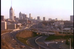 Traffic moves along the freeway in Atlanta, Georgia. Stock Footage