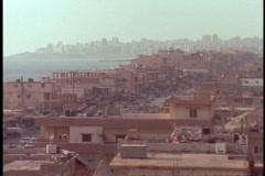 Homes in suburban Beirut crowd together along the coast. Stock Footage