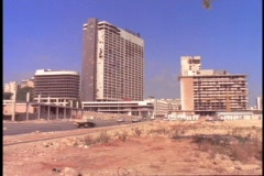 Bombed out hotels stand in Beirut, Lebanon. Stock Footage