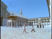 Stock Video Footage of Muslim worshipers walk inside a Mosque in Syria.