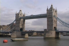 The majestic London and Westminster Bridges span the River Thames in London, Stock Footage