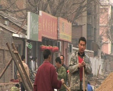 Construction workers in Beijing. Migrant workers in beijing china. - stock footage