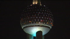 Oriental Pearl TV tower zoomed Stock Footage