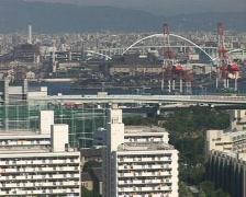 osaka skyline, panoramic view, cityscape. - stock footage