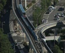 train osaka skyline, panoramic view, cityscape. Stock Footage