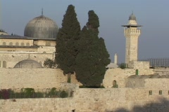 The Al Aksa Mosque and Dome of The Rock stand in Jerusalem, Israel. Stock Footage
