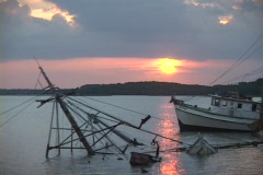 Half of a wrecked sailboat sticks up out of the water. Stock Footage
