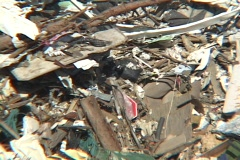 The debris left in the aftermath of Hurricane Katrina creates a huge mountain of Stock Footage