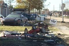 A devastated neighborhood shows the aftermath of Hurricane Katrina. Stock Footage