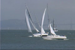 Sailboats on the bay 4 Stock Footage