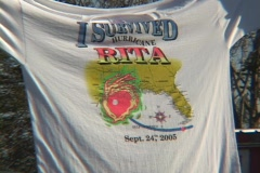 "Close-up shot of a tee shirt that reads,  I Survived Hurricane Rita."""" Stock Footage"