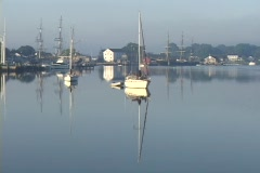Several boats rest in a glass-like harbor. Stock Footage