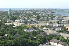 Long-shot of a generic New Jersey or East Coast USA coastal town. Stock Footage