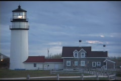 Medium-shot of the Highland Lighthouse on Cape Cod, Massachusetts. Stock Footage