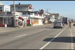 Long-shot of a New England or New Hampshire beach town in summer. Stock Footage