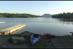 Long-shot of a beautiful lake in Acadia National Park, Maine. Stock Footage