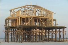 A beach house undergoes reconstruction after Hurricane Katrina. Stock Footage