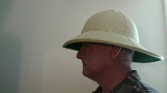 Man, person ,pith helmet Stock Footage