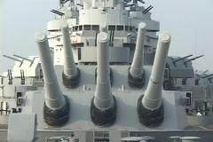 A large battleship displays it's guns. Stock Footage