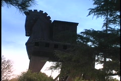 The silhouetted Trojan Horse rises above Ancient Troy in Turkey. Stock Footage