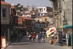 Tourists walk through an outdoor market in Turkey. Stock Footage