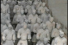 Terracotta statues stand in rows in Xian, China. Stock Footage