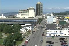 A high angle establishing shot of downtown Anchorage Alaska. Stock Footage