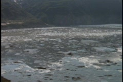 Chunks of ice float in a partially frozen river. Stock Footage