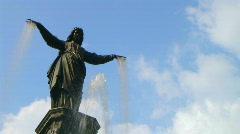 Female Statue Fountain Stock Footage