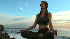 Yoga meditation by the ocean - HD  Stock Footage