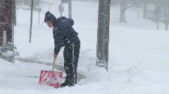 Man Shoveling Snow 02 Stock Footage