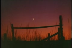 A crescent moon hangs above a rustic fence. Stock Footage