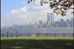 The twin towers of the World Trade Center rise high above New York City. Stock Footage