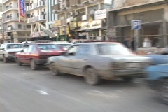 Cars wait in long lines for gas in Baghdad, Iraq. Stock Footage