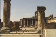 Tourists wander through Pompeii ruins. Stock Footage
